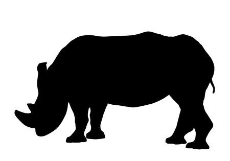 Ilustración de Rhinoceros silhouette isolated on white background vector - Imagen libre de derechos