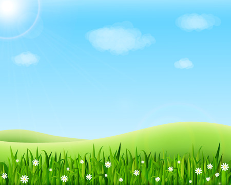 Illustration for Summer meadow landscape with green grass, flowers, hills and sun. Vector illustration - Royalty Free Image