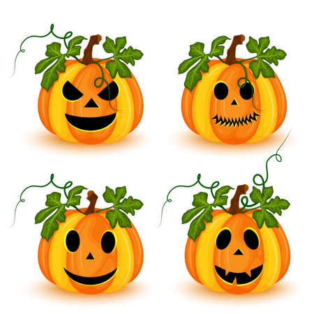 Illustration pour Set of Halloween pumpkins with different faces isolated on white background. vector illustration - image libre de droit