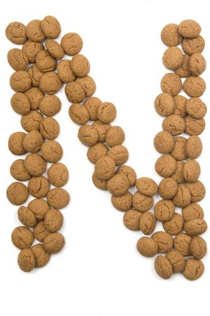 Little ginger nuts in the form of the letter N. These little ginger nuts are used in Holland for the Sinterklaas party, which is at Dec 5 every year. Sinterklaas is a sort of Santa Claus. In Holland these ginger nuts are called pepernoot. Isolated on