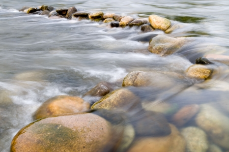 Water flowing over beautiful stones through the France Ardeche