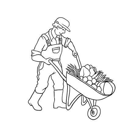 Vector Sketch Farmer Man With Cart Vegetables Autumn Gardening