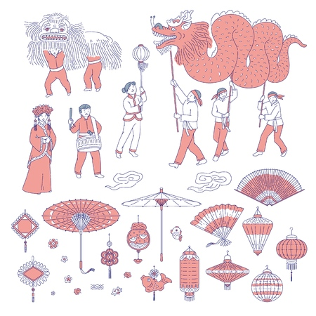 Illustration pour Symbols Chinese New year people in traditional costumes. Vector line art set lanterns talismans for holiday home decoration. National celebration parade and symbols of China culture - image libre de droit