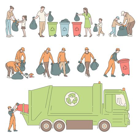 Illustration for People sorting garbage and send truck for recycling. Volunteers clean environment from trash vector set sketch line illustrations - Royalty Free Image