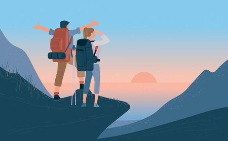 Illustration pour Travelers man and woman with backpack standing of mountain and looking sunrise over the sea. Concept of hiking, adventure tourism travel and discovery. Explorer flat vector illustration. - image libre de droit