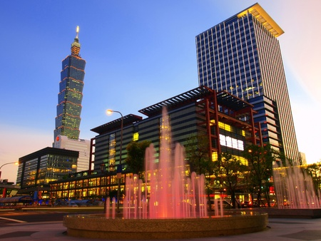 Nightfall and modern buildings