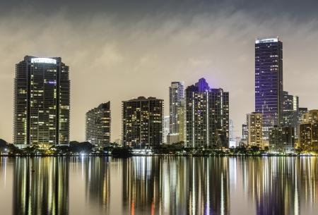 Miami downtown at night illu