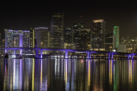 Miami skyline by night with