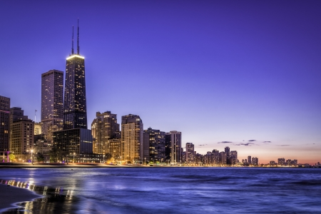 Downtown Chicago skyline by dusk