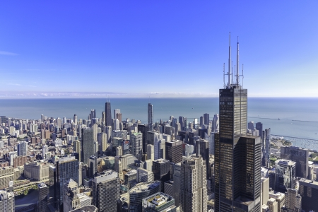Chicago skyline panorama aerial view with skyscrapers and city skyline