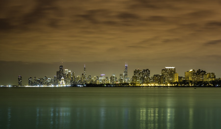 Downtown Chicago panorama by night