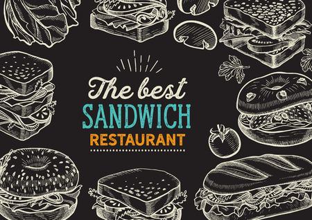 Illustration pour Sandwich illustration - bagel, snack, hamburger for restaurant. - image libre de droit