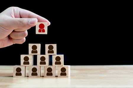 Photo pour Human resource management and recruitment business concept, Wood cube building - image libre de droit
