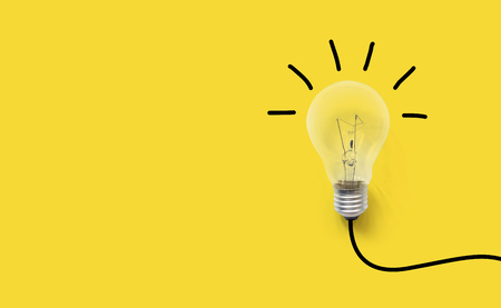 Photo for Creative thinking ideas brain innovation concept. Light bulb on yellow background - Royalty Free Image
