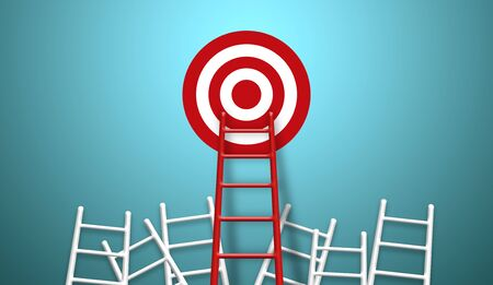 Photo for Stand out from the crowd and think different creative idea concepts. Longest red colour ladder and aiming high to goal target - Royalty Free Image