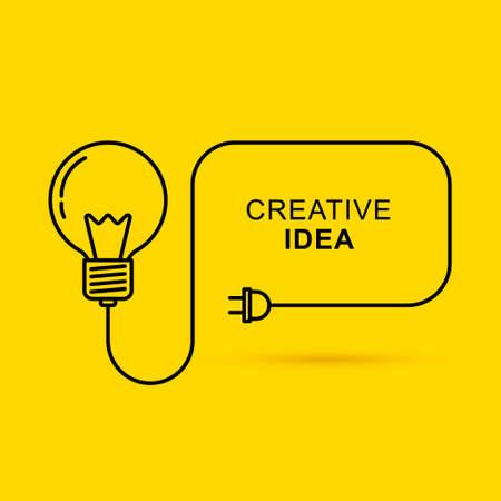 Illustration pour Creative thinking ideas brain innovation concept. Light bulb on yellow background. Vector illustration - image libre de droit