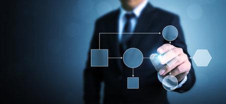 Photo pour Business process and workflow automation with flowchart. Businessman pointing illustration processing management - image libre de droit