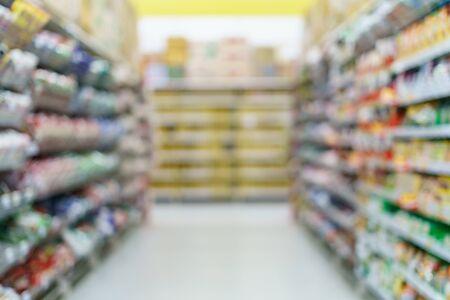 Foto für Supermarket blurred background instant noodles on shelves at grocery. - Lizenzfreies Bild