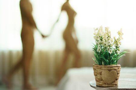 Foto de Blurred naked couple standing together at window and holds her hands on his. - Imagen libre de derechos