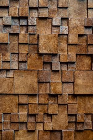 Photo pour Brown wooden brick wall background, wood textured. - image libre de droit