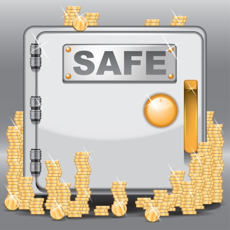 Vector locked safe filled with golden coins