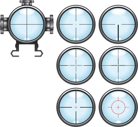 Illustration  set of highly detailed sniper scopes