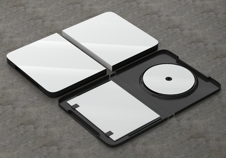 3d Render Of A Cd Dvd Compact Disc Plastic Box Mockup On Concrete