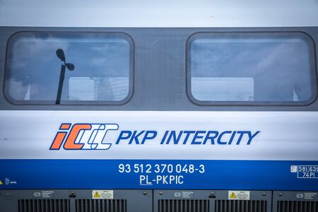 KRAKOW, POLAND - JULY 20, 2018; PKP Intercity High speed train Pendolino at platform in Cracow
