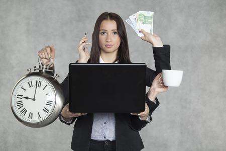 businesswoman is very multitasking