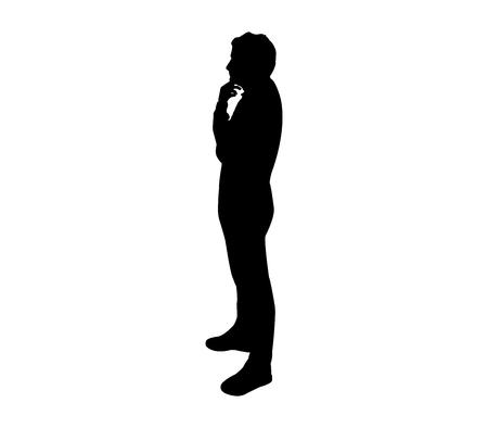 Illustration pour silhouette man thinking - image libre de droit