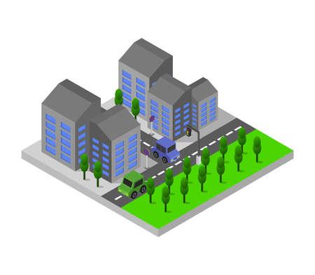 Illustration for isometric city - Royalty Free Image