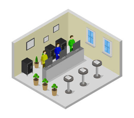 Illustration for isometric bank room - Royalty Free Image