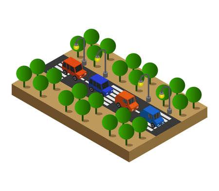 Illustration for isometric road illustration - Royalty Free Image