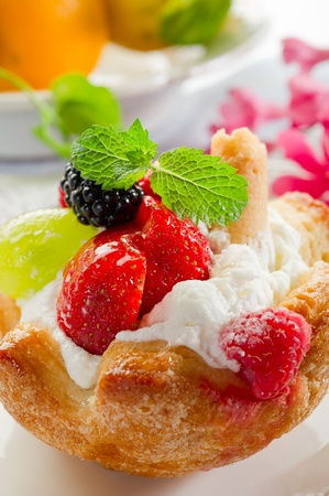 Photo for fruits dessert with ice cream and cream sauce - Royalty Free Image