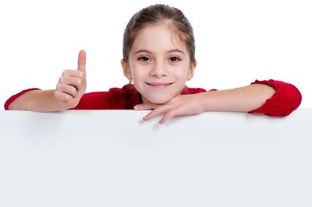 girl holding empty board
