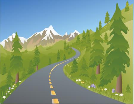 Foto de Illustration of a mountain road in the summer - Imagen libre de derechos