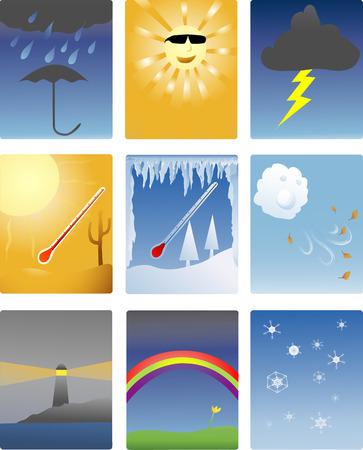 icons of different types of weather phenomena