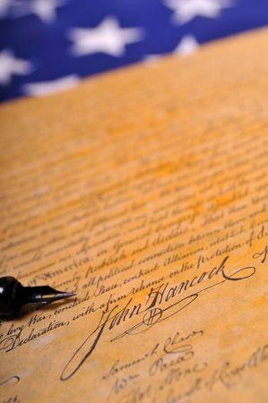John Hancocks famous signature on the Declaration of Independence