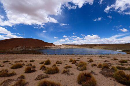 Photo pour Snow-capped volcanoes and desert landscapes around the Laguna Turquiri, Bolivia. Andean landscapes, the Bolivia Plateau - image libre de droit