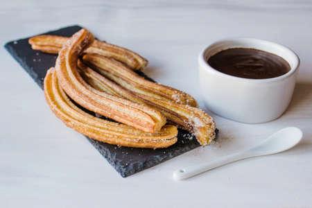 Foto de Churros with Chocolate, traditional food in Spain - Imagen libre de derechos