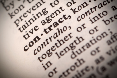 The word  Contract  in a dictionary
