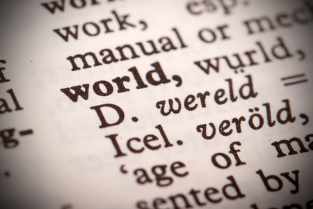 The word  World  in a dictionary