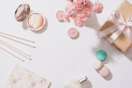 Creative and fashion composition. Stationery objects on desk. Flat lay. Accessories on the table, woman desk top