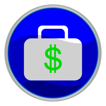 Vector illustration of a glossy icon of a suitcase with a