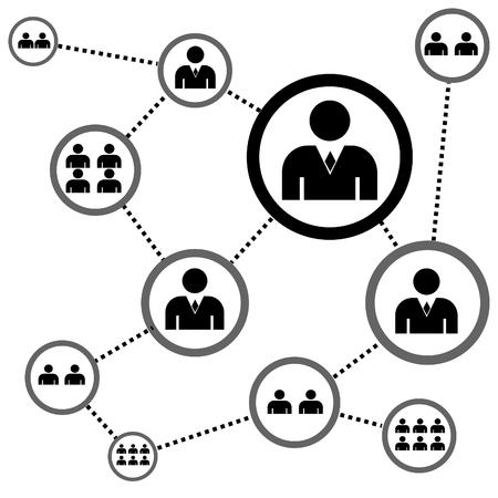 Illustration pour vector illustration of a complex network of people - image libre de droit