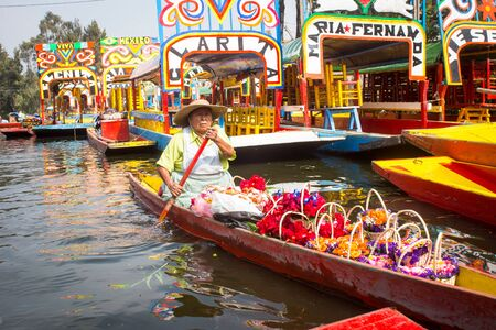 Photo for Colorful traditional mexican boats trajineras. - Royalty Free Image