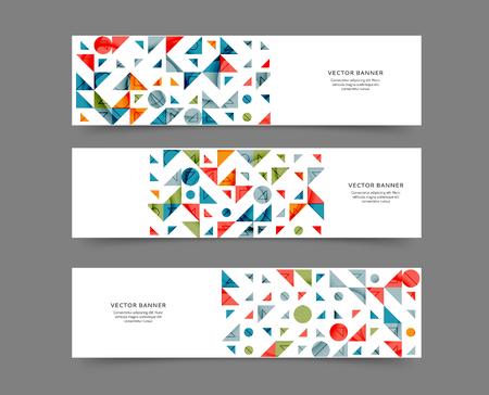 Illustration pour Set of abstract web banner templates with geometric elements background - image libre de droit