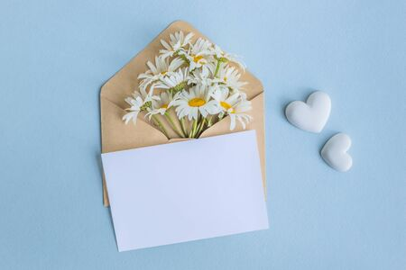Photo pour Mockup white greeting card and envelope with white camomiles on a light blue background - image libre de droit