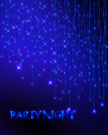 Abstract Background with Garland. Blue Lights. Party Invitation