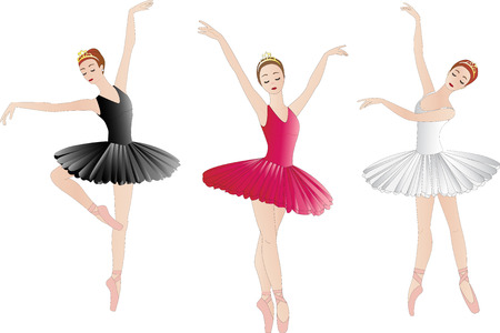 Illustration pour Set of ballerinas, isolated on white - image libre de droit